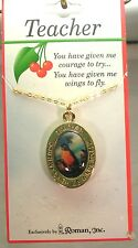 """Teacher """"You Have Given Me Wings To Fly"""", Necklace, Gold Tone Chain, Made in USA"""