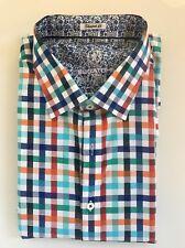 New Bugatchi Uomo Bright Plaid Print Shirt Mens XL Shaped Fit $149