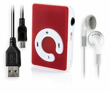 Red Mini MP3 Player with Clip for Sports & Running.   Small Mini MP3 player SD