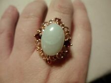 Banded Agate Oval Solitaire Ring w/Garnet Accents in 18K RG Overlay-Size 10