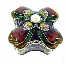 Pearl Jewelry Trinket Box Bejeweled Enamel Crystal Hinged Metal Keepsake Decor