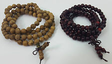 Two Wengue/Sandalwood 108 Prayer Bead Mala Bracelets Necklaces 6mm and 8mm