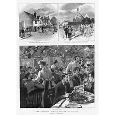 RIPLEY Surrey; The Cyclists Sunday Dinner - Antique Print 1891
