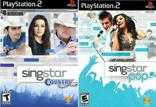 2 NEW SEALED PS2 SINGSTAR GAMES - POP AND COUNTRY - FREE US SHIPPING