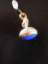 9 CARAT YELLOW GOLD LAPIS LASULI FOB PENDANT BNIB MADE IN ENGLAND PURE QUALITY