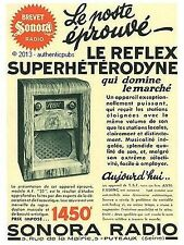 PUBLICITE SONORA LE REFLEX SUPERHETERODYNE MODELE AF RADIO T.S.F 1935 FRENCH AD