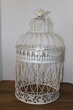 "Vintage 19"" White Metal Decorative Bird Cage w/Hinged Door, Bird Topper/Hanger"