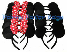 12 pcs Mickey Minnie Mouse Ears Headbands Black Red Party Favors Birthday Gift