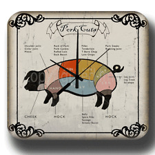 PORK CUTS BUTCHERS SHOP WALL CLOCK VINTAGE RETRO TIN METAL SIGN CLOCK