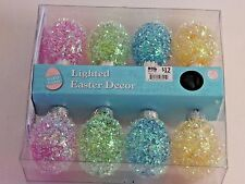 8 LED Pink Yellow Blue Easter Egg Light Set Basket Wreath Holiday Decoration