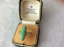 BEAUTIFUL 9ct ART DECO ROSE GOLD  APPLE GREEN JADE RING. SIZE J with box