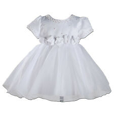 New White Satin Party Flower Girl Christening Dress 6-9 Months