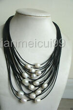 Nouveau 11-12mm blanc baroque perle d'eau douce multi-fil collier en cuir noir