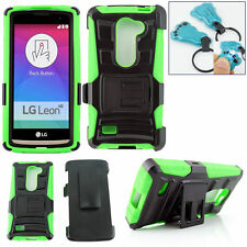 LG Leon 4G LTE C40 / H340N Holster Case Cover with Belt Clip + Stand phone Green
