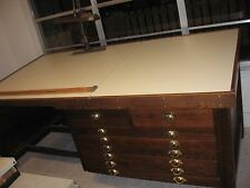 ANTIQUE OAK ARCHITECTS DRAWING DESK & CHAIR ARTIST DRAFTING FLAT MAP DRAWERS
