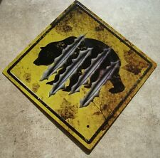 BLACK BEAR STREET CROSSING Caution Bear Claw Road Warning Sign Cabin Wall Decor