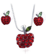 Small Red Apple Necklace Stud Earrings Jewelry Set Gift for Teachers Girls s51r