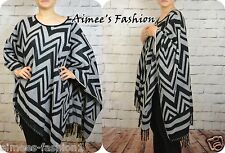 NEXT PREMIUM BLACK GREY ABSTRACT CAPE, SHAWL PONCHO ONE SIZE FITS UK10-22