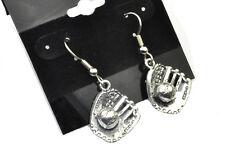 Baseball Glove Earrings Antiqued Silver Plated With Hypoallergenic Ear Wires