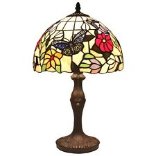 "Bieye Tiffany Style Stained Glass Butterfly Flower Table Lamp Handmade 12""W 19""H"