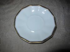 Vintage Johnson Bros china tea saucer, 12 sided, white with gold trim