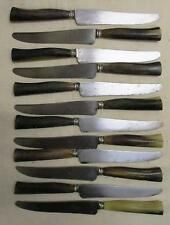 Set of 12 French Cow Horn Dinner Knives, original maroon box