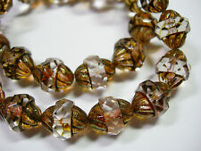 15 12x10mm Czech Glass Faceted Clear Crystal Picasso Turbine Beads