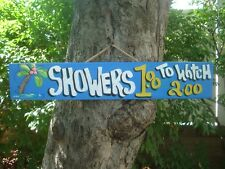 SHOWERS $1.00 TO WATCH TROPICAL TIKI HUT BAR HUT POOL BEACH HOT TUB SIGN PLAQUE