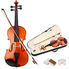 New Size 4/4 3/4 1/2 1/4 1/8 Natural Acoustic Violin Fiddle with Case Bow