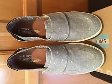 NEW TOMS Womens Altair Sz 9.5 Chambray Slip on Shoes Loafers Flats Grey Sneakers