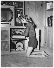 1952 Pretty Women Operating Hi Fi Tube Record Player  8 x 10  Photograph
