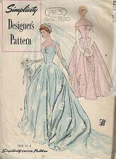 1950 Vintage Couture Motif B34 POUR MARIÉE ROBE & FILLES D'HONNEUR Robe (1763)