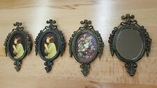 4 - Vintage Small Ornate Metal Picture Frame Oval Mirror Frames Made in Italy
