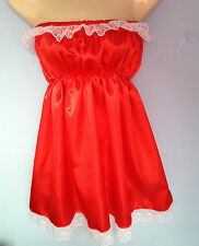 red satin dress adult baby fancy dress sissy maid cosplay valentine fetish 36-46