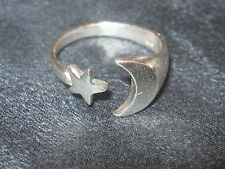 925 STERLING SILVER WICCAN MYSTICAL MOON AND STAR RING SIZES 7. 8 AND 9 RINGS