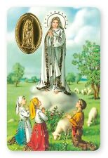 OUR LADY OF FATIMA LAMINATED PRAYER CARD + FOIL MEDAL - STATUES CANDLES LISTED