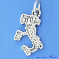 ITALY COUNTRY MAP SICILY SARDINIA .925 Solid Sterling Silver Charm Italian