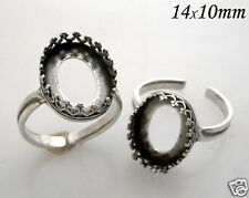 4pcs Oval 14x10mm Bezel Cup on Ring Antique Silver Plated For Setting (8492ASP)