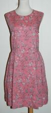 GAP 100% Cotton Pink White Floral Sleeveless Fit n Flare Pleated Skirt Dress 14
