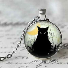 Vintage black cat Cabochon Silver plated Glass Chain Pendant Necklace/new