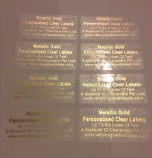 100 Gold Address Labels PERSONALISED CLEAR GLOSS STICKERS Metallic Gold Print