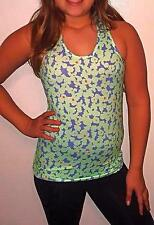 Ivivva by LuLulemon Girls Tank Top Yoga Athletic Floral Green Gym Sport 8/M Neon