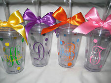 Monogram tumblers with straws, Personalized cups, bridesmaid cups, initials cup,