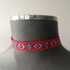 NEW SEASON VINTAGE FASHION AZTEC PRINT MULTI COLOURED CHOKER NECKLACE