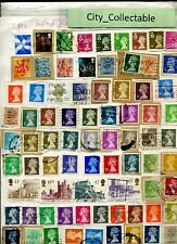 T491 # BULK 77 PCS QUEEN ELIZABETH II USED STAMPS UK ISLE OF MAN SOME HIGH VALUE