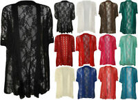 New Womens Plus Size Lace Button Short Sleeve Ladies Open Cardigan Top 14 - 28
