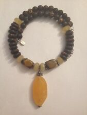 """Vintage 925 Sterling Silver Wood Bead Genuine Stone Pendant 17"""" Necklace (b456)"""