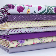 7 x FQ BUNDLE - MAKOWER TULIPS GREY 100% COTTON POPLIN FABRIC yellow & purple