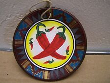Clay Painted Plate Ornament - Chile Peppers - Peru