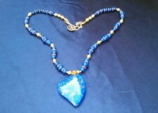 Blue Lapis Lazuli Beads HEART pendant gold Luxe NECKLACE Valentine's Day GIFT